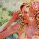 Rex Beanland, Bridesmaid In The Sun, watercolour, 14 x 21