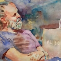 Rex Beanland, Guy Ponders, watercolour, 14 x 21