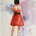 Rex Beanland, Watching, watercolour, 12 x 8