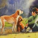 Rex Beanland, A Moment Of Reflection, watercolour, 11 x 20