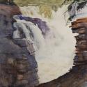 Rex Beanland, Athabaska Falls, watercolour, 18 x 14
