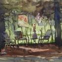 Rex Beanland, Summer Scene, watercolour, 9 x 12