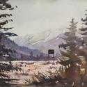 Rex Beanland, Takakkwa Falls 1, watercolour, 9 x 12