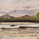 Rex Beanland, Fort Nelson Creek, watercolour, 11 x 15