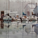 Rex Beanland, All Quiet In Gibsons Harbour, watercolour, 12 x 16