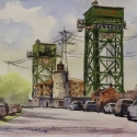 Rex Beanland, Burlington Lift Lock, watercolour, 9 x 12