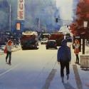 Rex Beanland, Granville Street, watercolour, 14 x 21