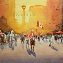 Rex Beanland, Calgary Stampede, Community Involvement, Community Spirit, watercolour, 24 x 36