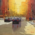 Rex Beanland, Jasper Ave, watercolour, 14 x 18