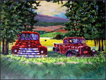 Rex Beanland, Big Red & His Buddy, acrylic, 24 X 30