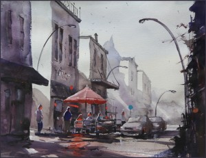Rex Beanland, Destination 19th St, watercolour, 20 x 15