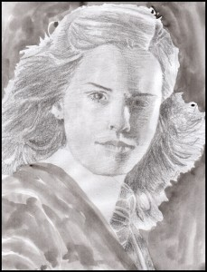 Rex Beanland, Emma Watson, pencil, 8.5 X 11