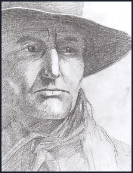 Rex Beanland, pencil drawing, 8.5 X 11