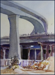 Rex Beanland, OverPass, watercolour, 9 X 12
