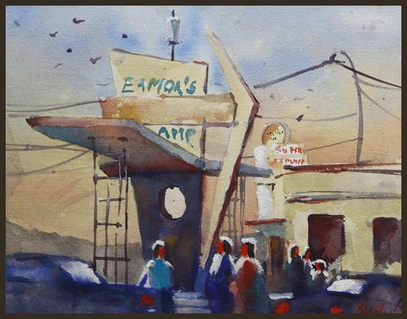 Rex Beanland, Eamon's Gathering, watercolour, 9 X 12