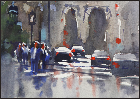 Rex Beanland, Car Arches Detail, watercolour