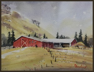 Rex Beanland, Leighton Barn, watercolour, 7.5 X 10
