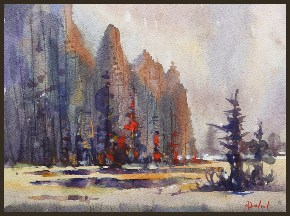 Rex Beanland, Sibbald Ponds, watercolour, 9 X 12