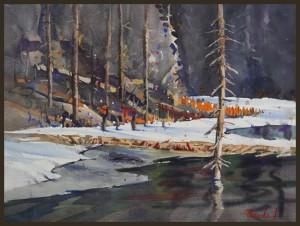 Rex Beanland, Spring Breaking Through, watercolour, 9 X 12