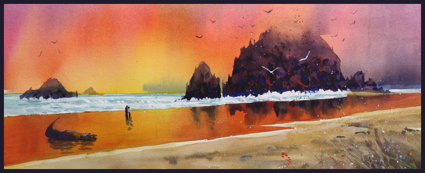 Rex Beanland, Memories Of Oregon, watercolour, 20 X 8