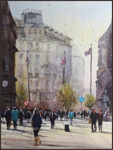 Rex Beanland, Leicester Square, watercolour, 18 X 24