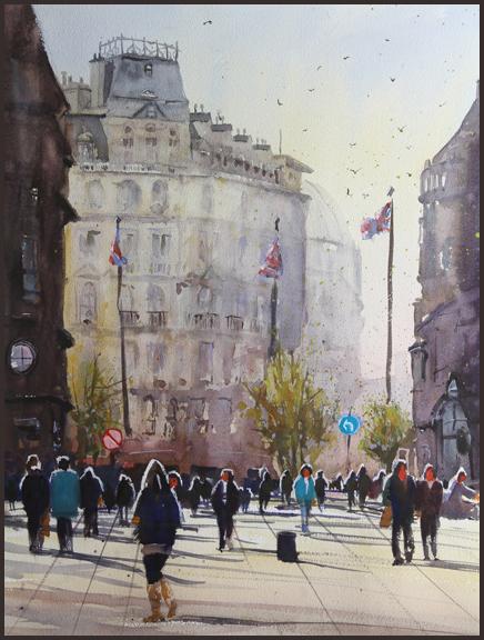 Rex Beanland, Leicester Square, watercolour, 18 X 24