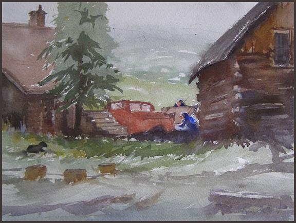 Rex Beanland, Maria's Ranch, watercolour, 9 X 12