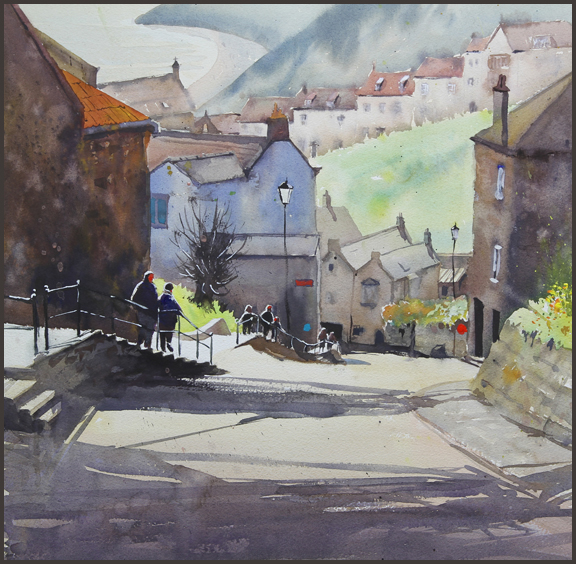 Rex Beanland, Robin Hoods Bay, watercolour, 18 X 18