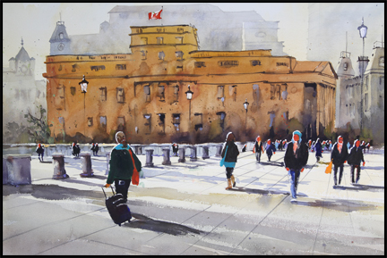 Rex Beanland, Canada House, I'm Coming, watercolour, 20 X 30