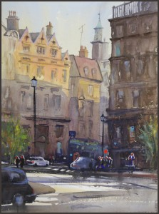 Rex Beanland, Charing Cross Road, watercolour, 18 X 24