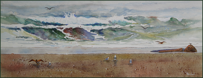 "Rex Beanland, Seashore & Seagulls, watercolour, 30"" X 12"""
