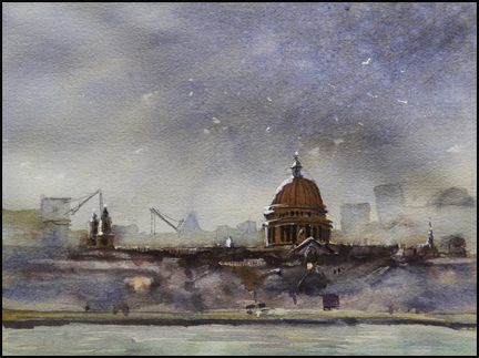 Rex Beanland, St. Paul's Dusk, watercolour, 9 X 12