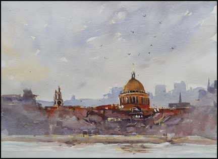 Rex Beanland, St. Pauls, watercolour, 9 X 12