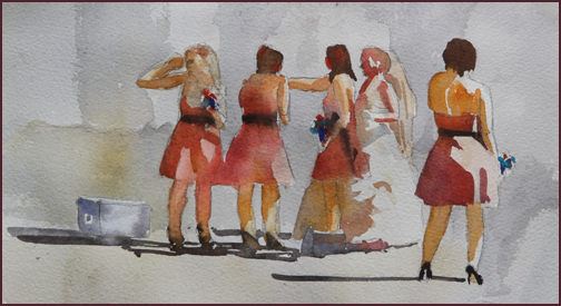 Rex Beanland, Bridesmaids, watercolour, 7 x 12