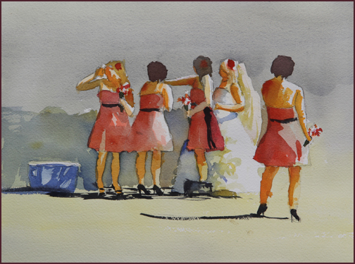 Rex Beanland, The Bridesmaids, watercolour, 9 x 12