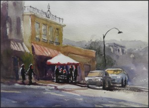Rex Beanland, Cafe, watercolour, 16 x 12