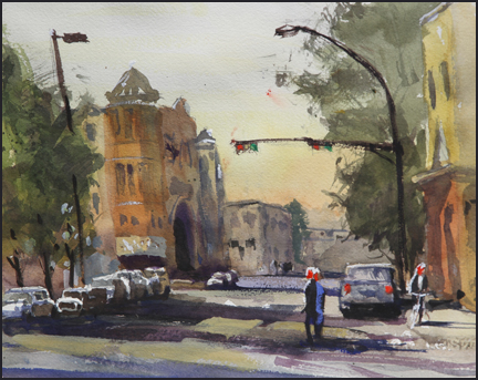 Rex Beanland, Kensington, watercolour, 9 x 12