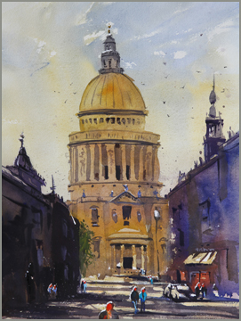 Rex Beanland, St. Paul's Calling, watercolour, 16 X 12