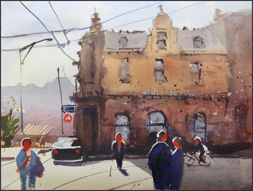 Rex Beanland, Back Lit Building, watercolour, 9 x 12