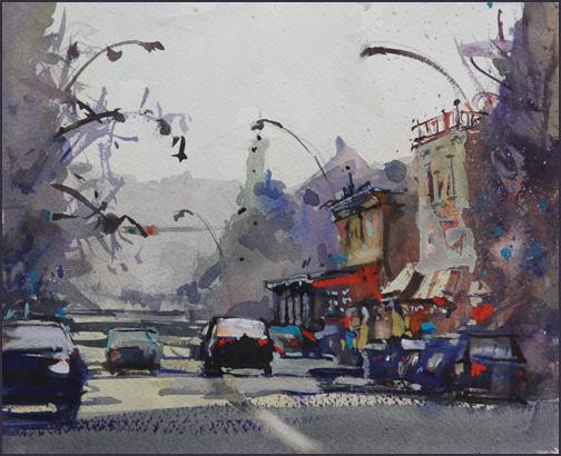Rex Beanland, Friday Night Bustle, watercolour, 8.5 x 10.5