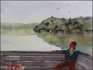 Rex Beanland, From The Boat House, watercolour, 16 x 12