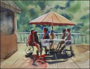 Rex Beanland, Gathering At The Lake, watercolour, 9 x 12