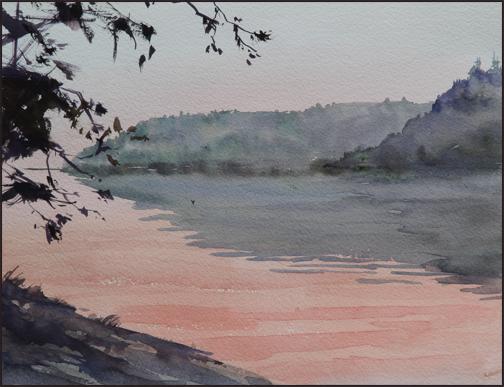 Rex Beanland, Sunset, watercolour, 9 x 12