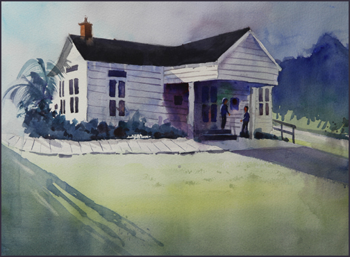 Rex Beanland, Historic Florida Building, watercolour, 16 X 12