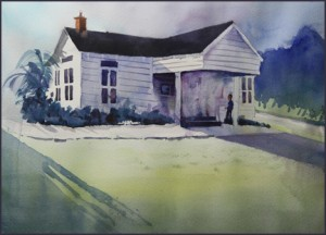 Rex Beanland, watercolour, Historic Florida Building Repair, 16 X 12