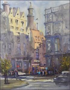 Rex Beanland, Charing Cross, watercolour, 18 x 224