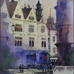Rex Beanland, Charing Cross, watercolour, 9 12