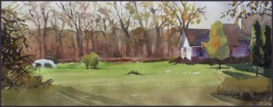 Rex Beanland, I Should Sell Houses Not Paint Them, watercolour, 25 x 8