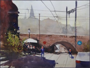 Rex Beanland, Umbrella & Bridge, watercolour, 16 x 12