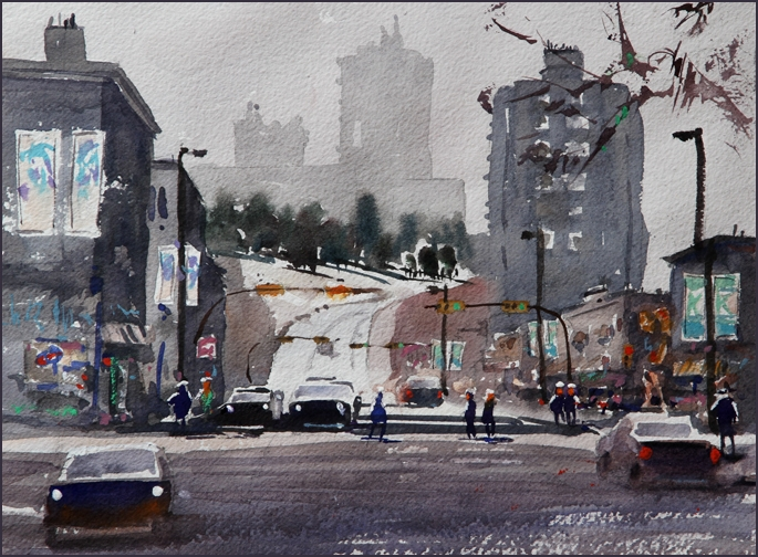 Rex Beanland, 10th Ave North, watercolour, 8 X 11